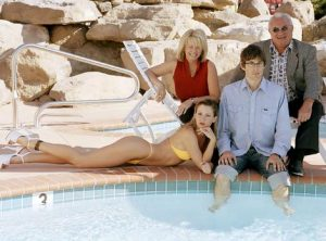 Louis Theroux with brothel owners Susan & Lance with one of the girls.